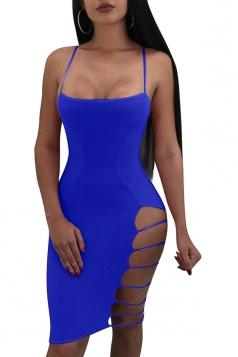 Backless Cut Out Side Plain Bodycon Clubwear Slip Dress Sapphire Blue