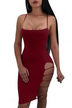 Spaghetti Straps Cut Out Side Plain Bodycon Clubwear Slip Dress Ruby
