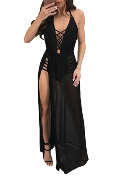 Deep V Neck Halter Backless Tie Waist High Split Maxi Club Dress Black