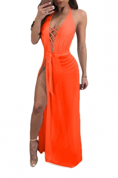 Criss Cross Deep V Halter Backless High Split Mesh Club Dress Orange
