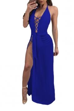 Criss Cross Deep V Halter Backless High Split Maxi Club Dress Sapphire