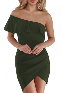One Shoulder Asymmetrical Hem Plain Bodycon Club Dress Olive Green
