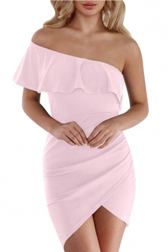 One Shoulder Surplice Asymmetrical Hem Plain Bodycon Club Dress Pink