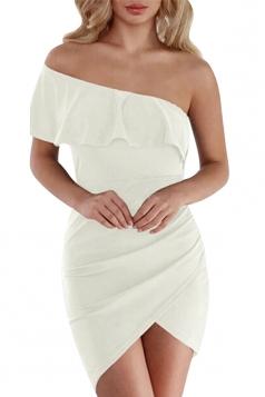 One Shoulder Surplice Asymmetrical Hem Plain Bodycon Club Dress White