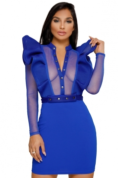 Button V Neck Mesh Patchwork Ruffle Sleeve Bodycon Club Dress Blue