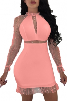 Bubble Beads Design Mesh Patchwork Bodycon Club Dress Watermelon Red