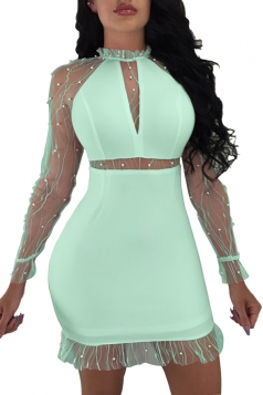 Bubble Beads Design Mesh Patchwork Bodycon Plain Club Dress Turquoise