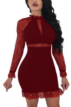 Bubble Beads Design Mesh Patchwork Bodycon Plain Club Dress Ruby