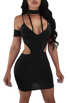 Sexy High Neck Cut Out Backless Plain Slip Bodycon Club Dress Black