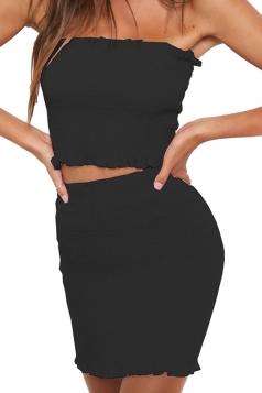 Tube Bandeau Top Plain Shirred Two Piece Bodycon Dress Black