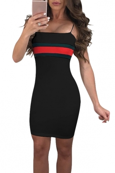 Spaghetti Straps Stripe Patchwork Bodycon Mini Slip Club Dress Black