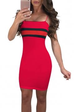 Spaghetti Straps Stripe Patchwork Bodycon Mini Slip Club Dress Red
