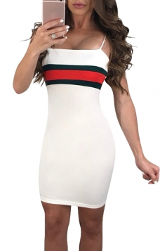 Spaghetti Straps Stripe Patchwork Bodycon Mini Slip Club Dress White