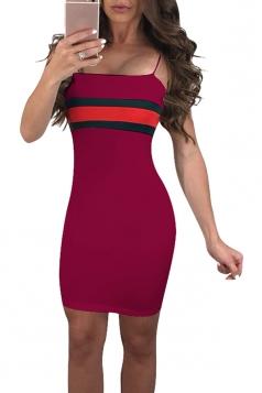 Spaghetti Straps Stripe Patchwork Bodycon Mini Slip Club Dress Ruby