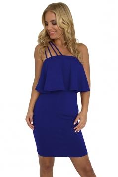 Spaghetti Straps Ruffle Hem Plain Tube Bodycon Club Dress Blue