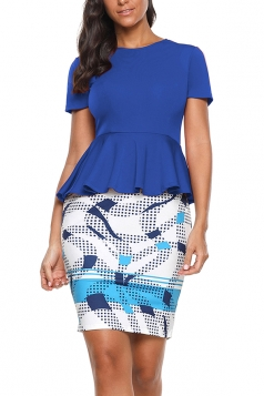 Crew Neck Short Sleeve Ruffle Hem Top Bodycon Print Dress Blue