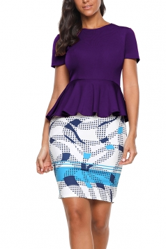 Crew Neck Short Sleeve Ruffle Hem Top Bodycon Print Dress Purple