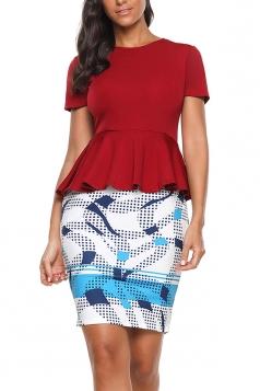 Short Sleeve Ruffle Hem Top Bodycon Color Block Print Dress Ruby