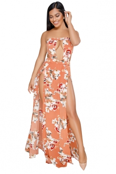 Sexy Strapless Cut Out Tube High Split Flower Print Maxi Dress Orange