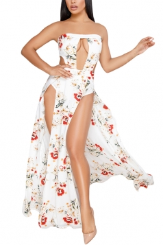 Sexy Strapless Cut Out Tube High Split Flower Print Maxi Dress White