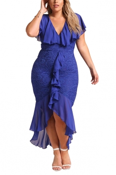 V Neck Plus Size Ruffle Plain Lace Hem Mermaid Bodycon Maxi Dress Blue