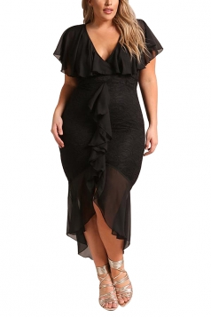 V Neck Plus Size Ruffle Plain Lace Hem Mermaid Bodycon Maxi Dress Black