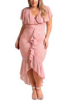 V Neck Plus Size Ruffle Plain Lace Hem Mermaid Bodycon Maxi Dress Pink