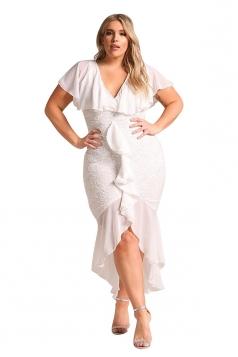 V Neck Plus Size Ruffle Plain Lace Hem Mermaid Bodycon Maxi Dress White