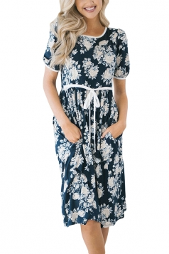 Short Sleeve With Waist Belt Pocket Loose Flower Print Midi Dress Blue