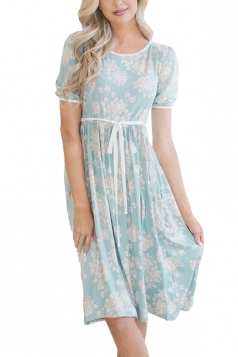 Short Sleeve With Waist Belt Pocket Flower Print Midi Dress Light Blue