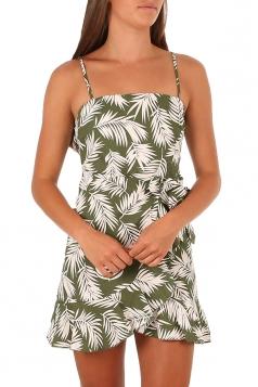 Spaghetti Straps Waist Belt Ruffle Hem Flower Print Tank Dress Light Green