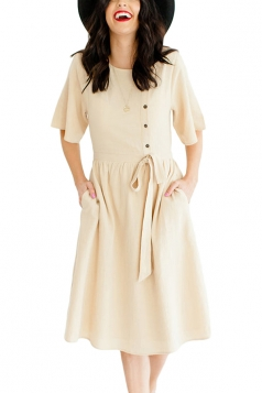 Short Sleeve Button Pocket Waist Belt Loose Plain Midi Dress Beige White