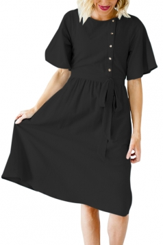 Short Sleeve Button Pocket Waist Belt Loose Plain Midi Dress Black