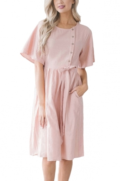 Short Sleeve Button Pocket Waist Belt Loose Plain Midi Dress Pink