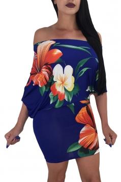 Sexy Off Shoulder Half Sleeve Flower Print Bodycon Dress Blue