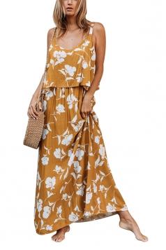 V Neck Straps Flower Print Loose Vacation Slip Maxi Dress Ginger
