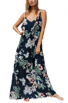 V Neck Straps Flower Print Loose Vacation Slip Maxi Dress Navy Blue