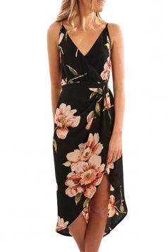 Bohemia Spaghetti Straps V Neck Wrap Leaves Print Midi Dress Black