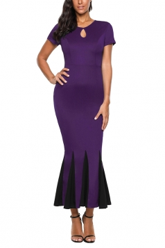 Short Sleeve Keyhole Front Bodycon Mermaid Maxi Evening Dress Purple