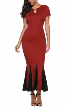Short Sleeve Keyhole Front Bodycon Mermaid Maxi Evening Dress Ruby
