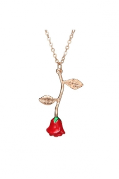 Red Trendy Concise Style Rose Pendant Long Necklace