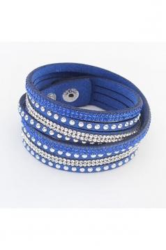 Blue Alloy Diamond Multi Layers Wrap Wristband Cuff Leather Bracelet