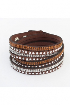 Coffee Alloy Diamond Multi Layers Wrap Wristband Cuff Leather Bracelet