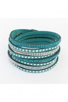 Green Alloy Diamond Multi Layers Wrap Wristband Cuff Leather Bracelet