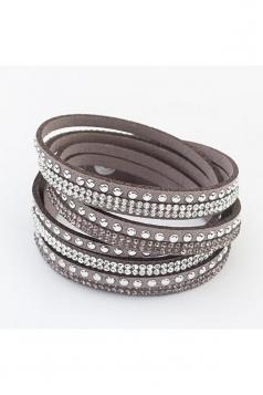 Gray Alloy Diamond Multi Layers Wrap Wristband Cuff Leather Bracelet