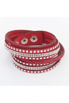 Red Alloy Diamond Multi Layers Wrap Wristband Cuff Leather Bracelet