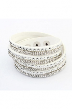 White Alloy Diamond Multi Layers Wrap Wristband Cuff Leather Bracelet