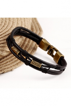 Black Unisex Multi Layers Wrap Wristband Cuff Rope Bracelet