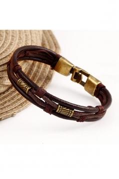 Brown Unisex Multi Layers Wrap Wristband Cuff Rope Bracelet