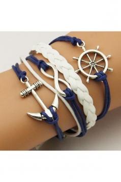 Blue Anchor Rudder Design Crafts Hand Cuff Rope Bracelet